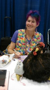 "My Hero! Colorful Lucy Neatby with Chicken and her chicken purse ""Hernest"""
